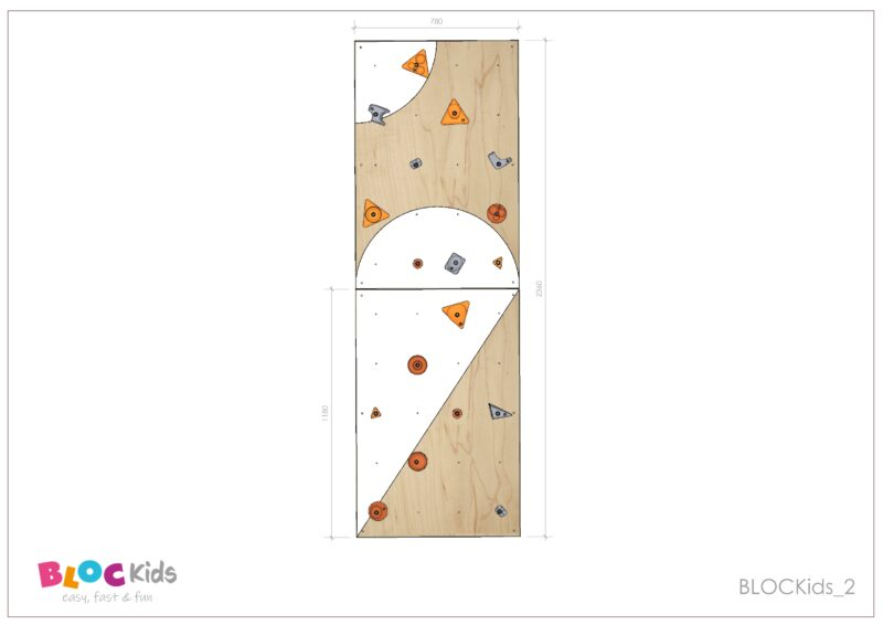Climbing wall for children BLOCKids 2 dimensions