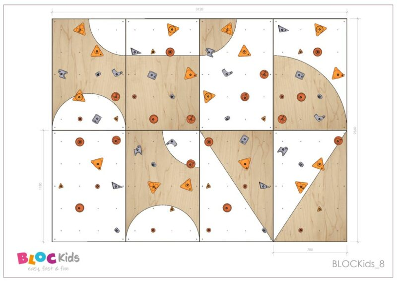 Climbing wall for children BLOCKids 8 dimensions
